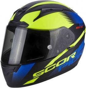 Moto přilba SCORPION EXO-2000 EVO AIR VOLCANO matná černo/modro/neonově žlutá