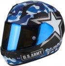 Moto přilba SCORPION EXO-390 ARMY matná modro/stříbrná