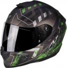 Moto přilba SCORPION EXO-1400 PICTA matná stříbrno/zelená